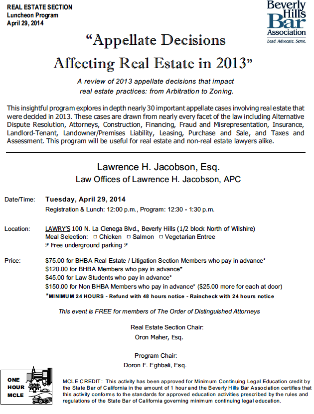 Appellate Decisions Affecting Real Estate in 2013