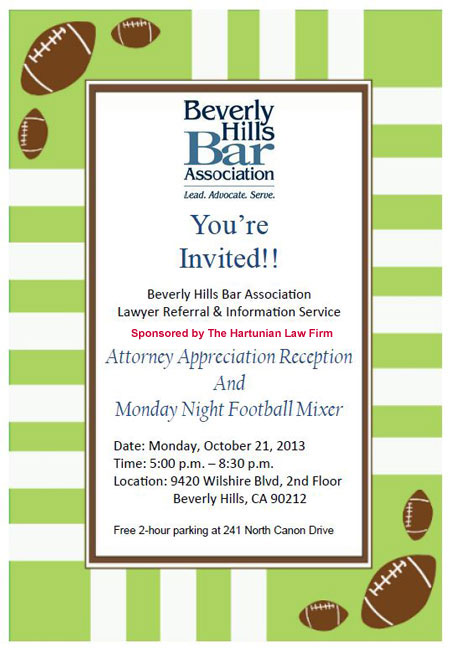 10/21 - Attorney Appreciation Reception and Monday Night Football Mixer