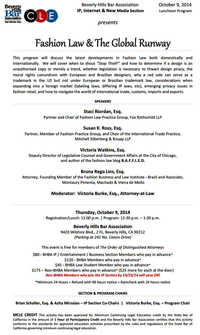 10/9 Fashion Law & The Global Runway