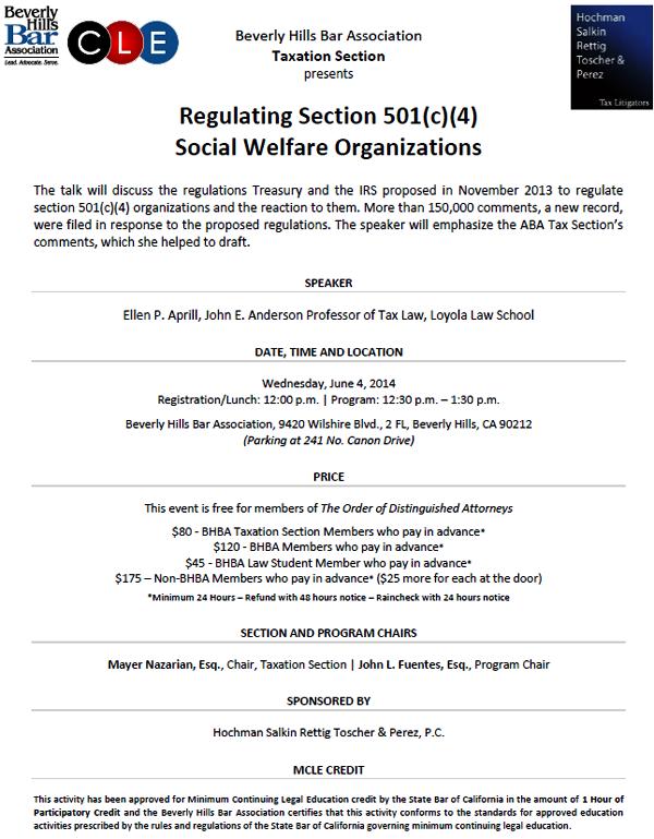 Regulating Section 501(c)(4) Social Welfare Organizations