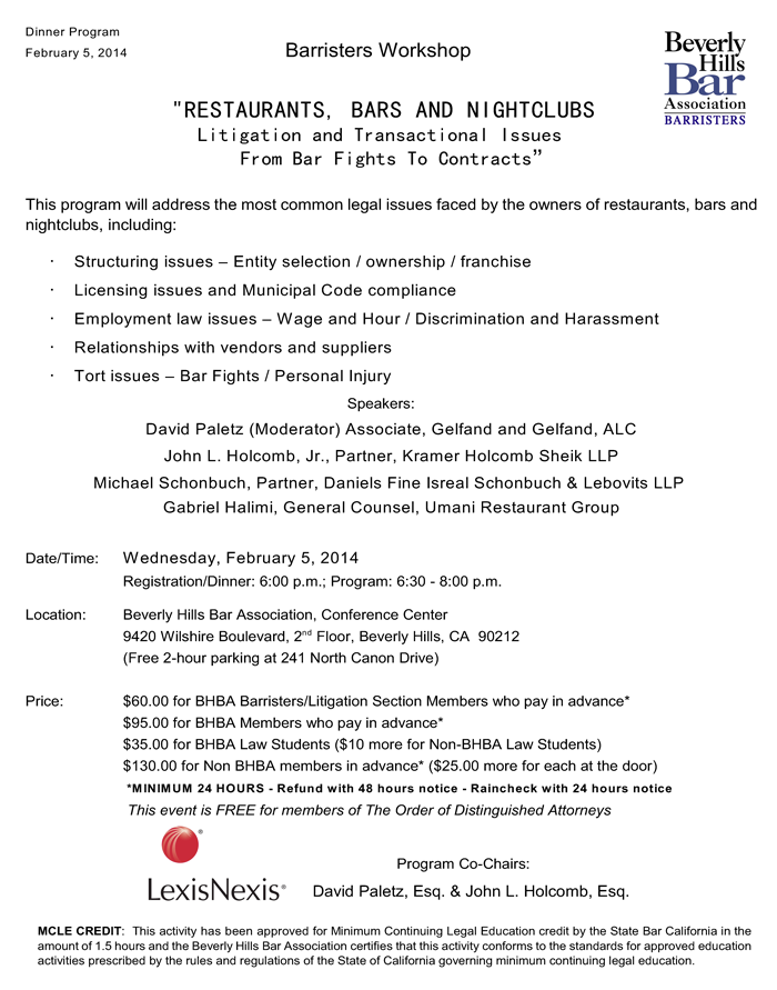 2/5 - Barrister Workshop: Litigation and Transactional Issues From Bar Fights To Contracts</div><p><b><font color=#FF0000>This event has passed the cut off date for on-line registration.  If you would still like to register for this event, please call the Beverly Hills Bar Association at (310) 601-2422 to check on availablity and register.</font></b></p></form> <p>&nbsp;</p>  </td> </tr> </table> </div> </div><head> <style type=