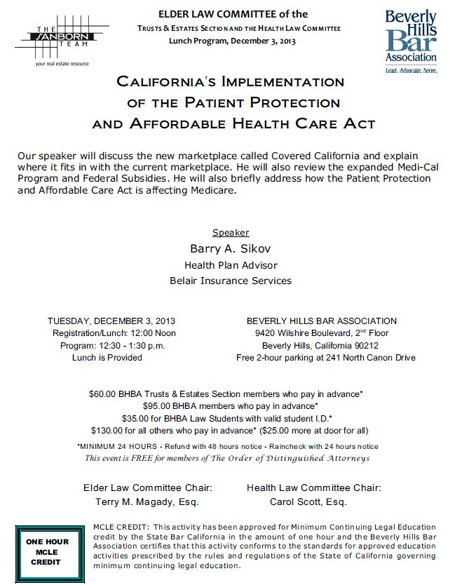 12/2 - California's Implementation of the Patient Protection and Affordable Health Care Act