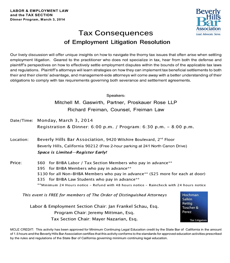 Tax Consequences of Employment Litigation Resolution