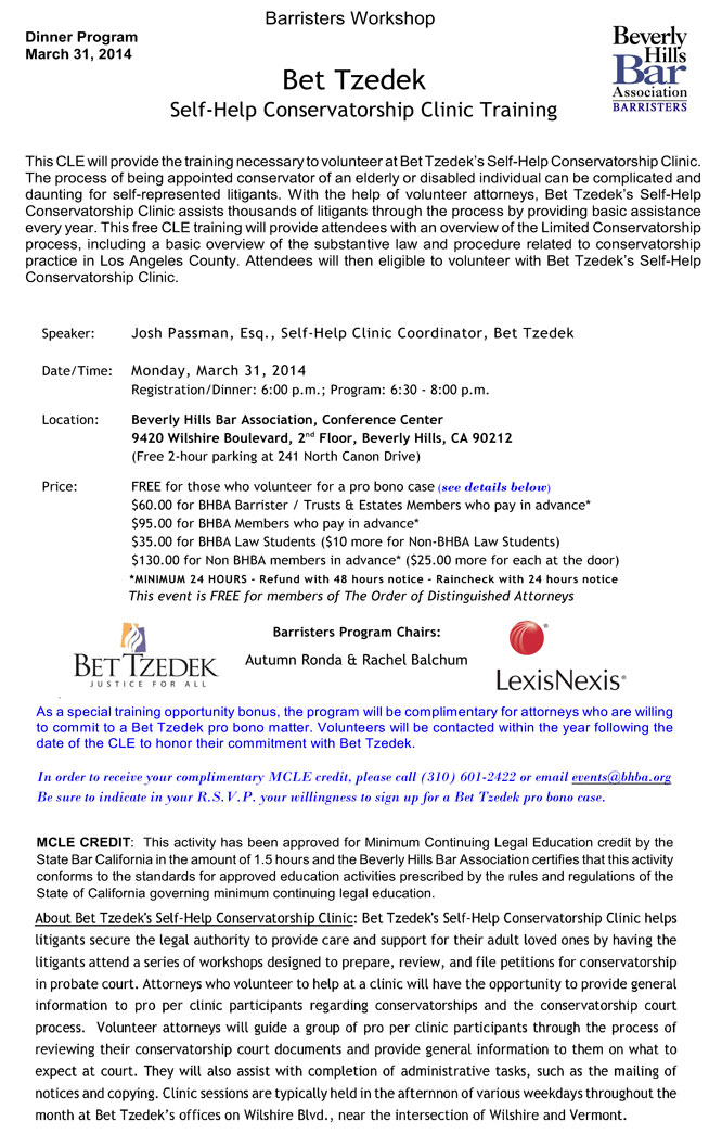 Bet Tzedek Self-Help Conservatorship Clinic Training