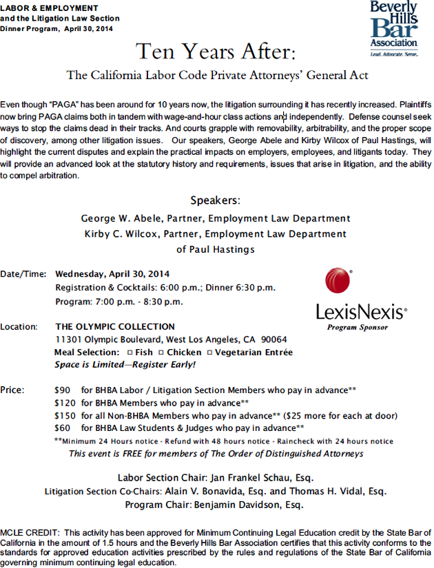 The California Labor Code Private Attorneys' General Act