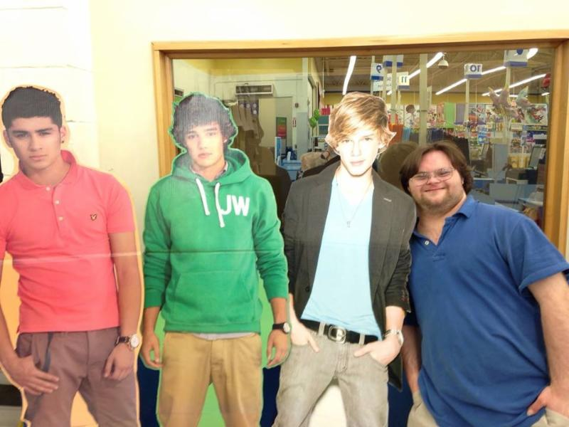 Karl and cut-out of his favorite band, One Direction