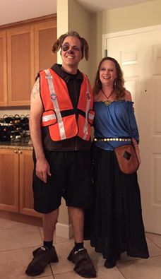 Matt dressed as a service dog and Debbie dressed as a Gypsy for Halloween 2014 Save Dade Party