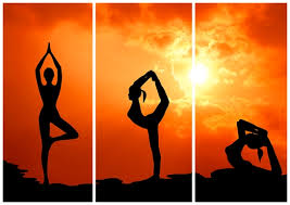 a lady in three different yoga positions.  1- standing, 2- standing with leg arched back, 3-sitting with leg arched back.  The sun is bright behind the picture.