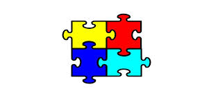 4 interlocking puzzle pieces. yellow, red, blue, and light blue.