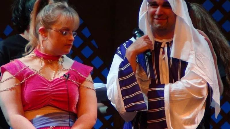 Actors, Lauren Barney and Joshua Goldstein, in action during ETC's performance of Aladdin
