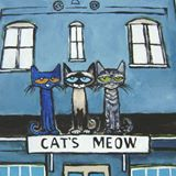 Logo for the Store Cat's Meow.  It is a cartoon picture of 3 cats in front of a building.