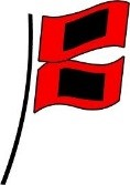 Two red flags with black squares, indicating a hurricane.