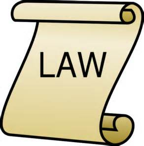 Clip Art of a piece of paper curled at the ends that says the word law in the middle.