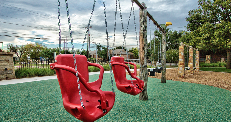 Accessible swings at Casey's Clubhouse at Grapevine.