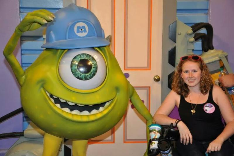 Stephanie with Mike from the movie monsters inc