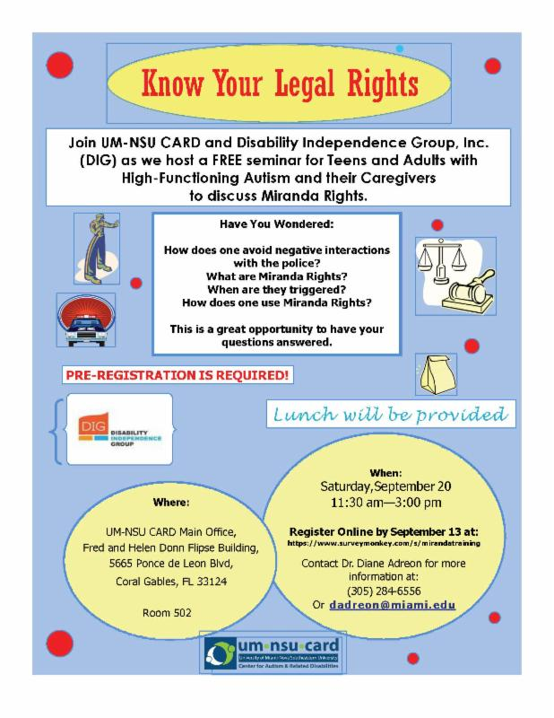 Flyer for the Miranda Rights Training at CARD on September 20, 2014.