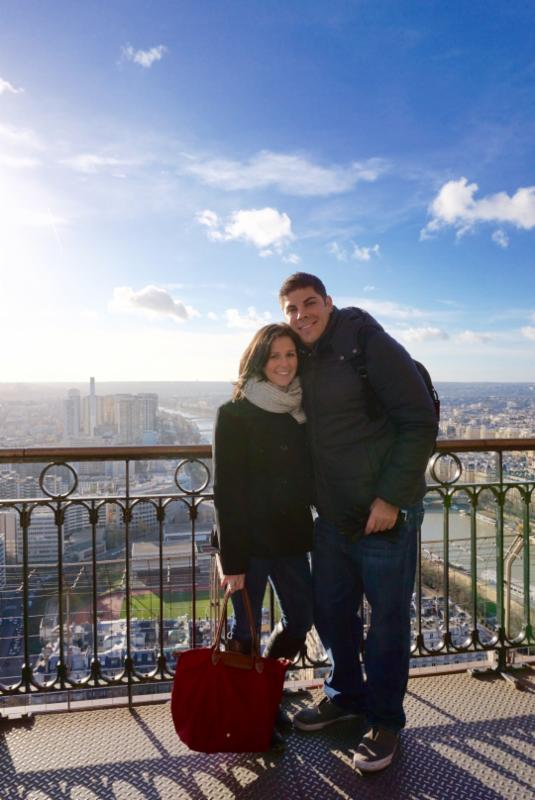 Rachel and Bobby at the top of the Eiffel Tower in Paris, France