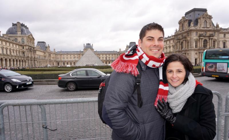Rachel and Bobby outside of the Louvre Museum in Paris, France