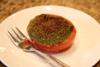 Pesto topped tomato