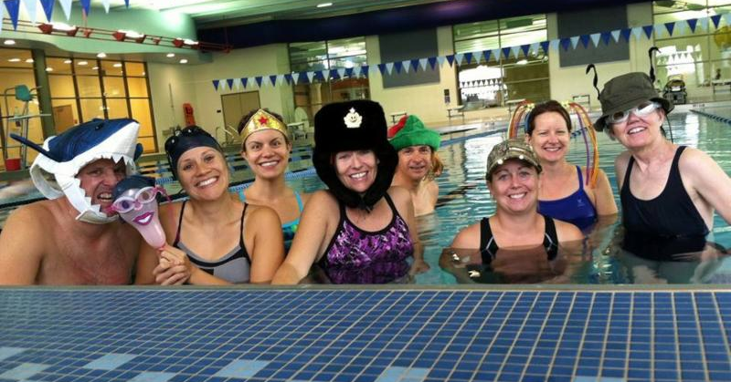 Swimmers at the Great Joliet YMCA funny hat day
