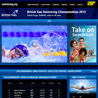 Sign up for live streaming from the British Gas Swimming Champs 2013