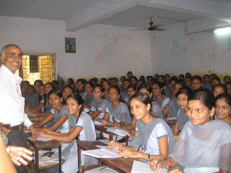 Girls packed into a classroom at Sarvajanik School