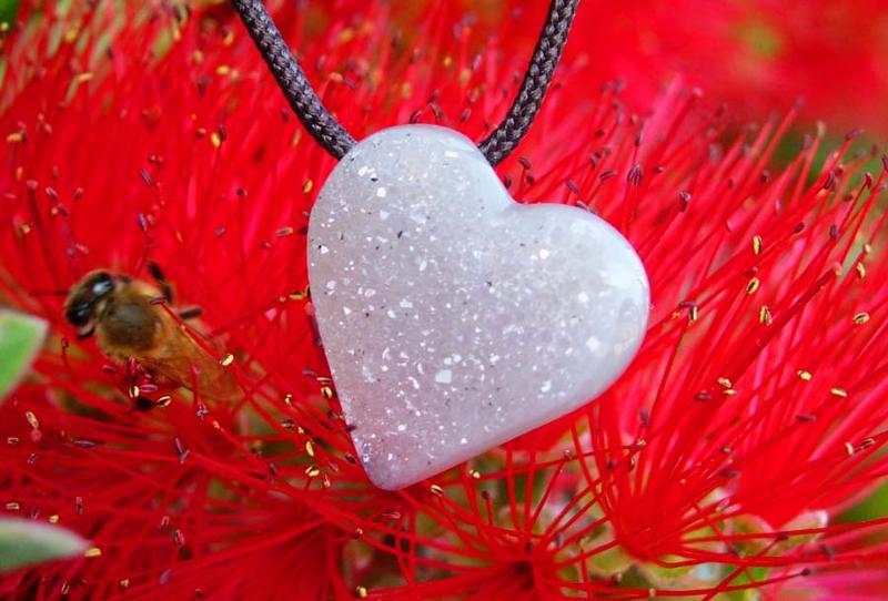 Agate Drusy Heart