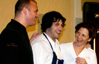 Celebrated chefs Dante deMagistris, Ken Oringer, and Jody Adams cook up a special auction item at this year's Cooking for a Cause.