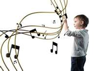 boy interacts with music