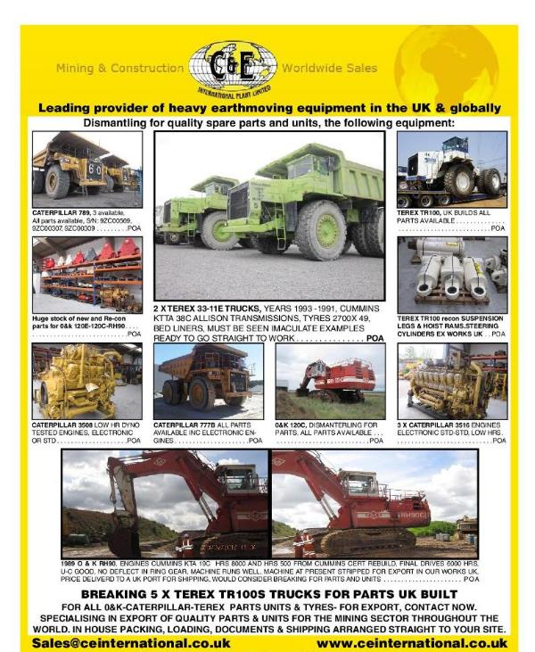 Equipment Currently available from C&E International Plant Ltd  Stock