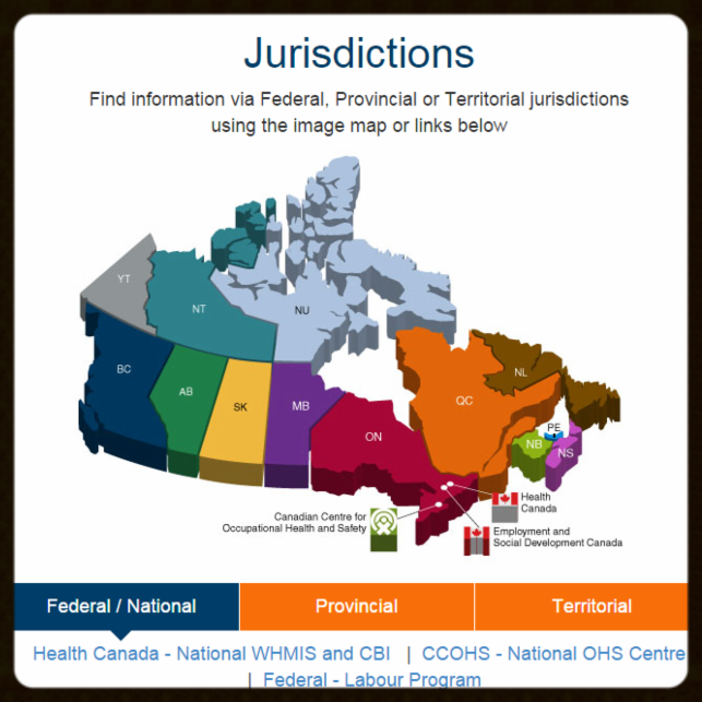 Canadian map of jurisdictions