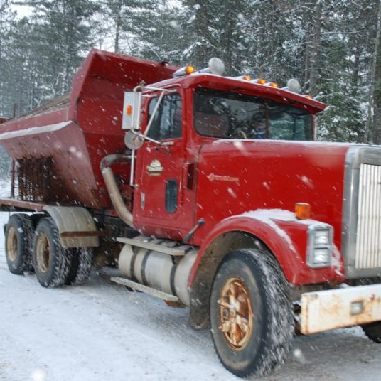 Forestry-mining sand truck in winter