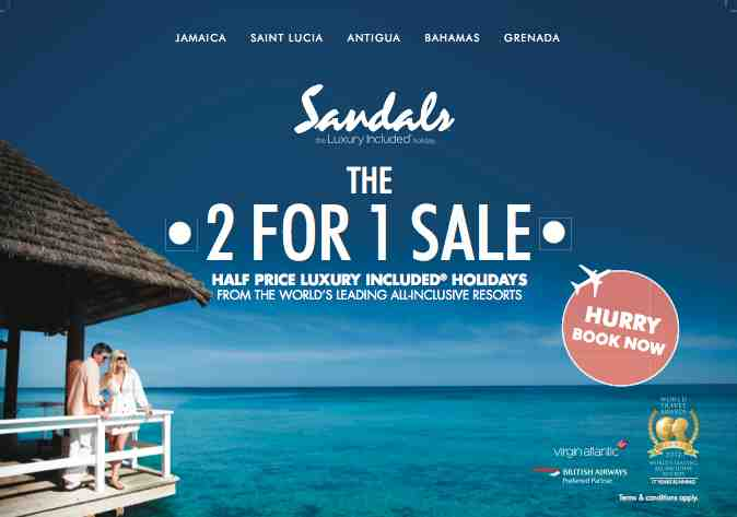 dc6acd7a8b5d Exceptional! Sandals   Beaches 2 4 1 Caribbean Holiday Offer ...