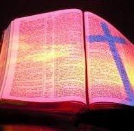Open bible w cross shadow