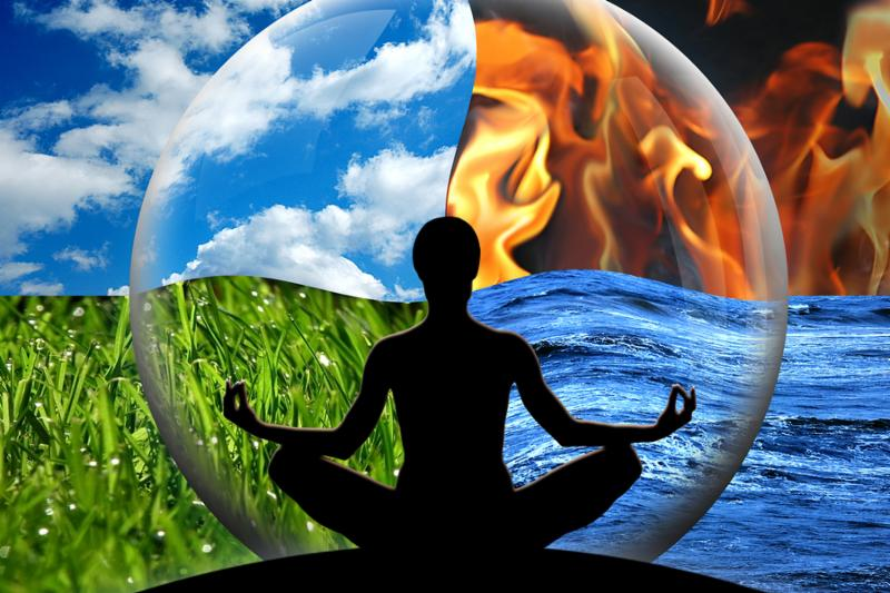 Female yoga figure in a transparent sphere composed of four natural elements  water fire earth air  as a concept for controlling emotions and power over nature.