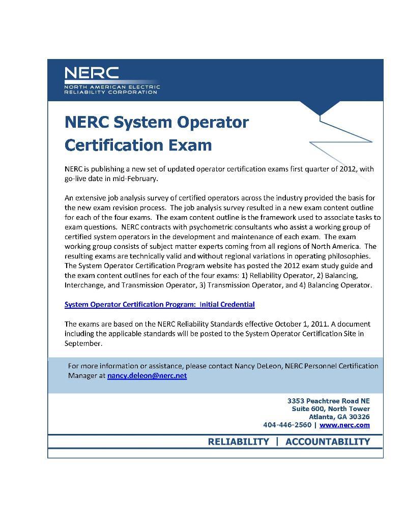 Free Webinar Nerc Certification In 2012