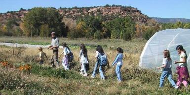 Students visiting farm