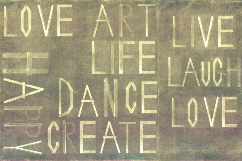 Earthy background image and design element depicting the words  love, life, art, happy, dance,...