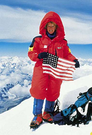 Stacy Allison with flag