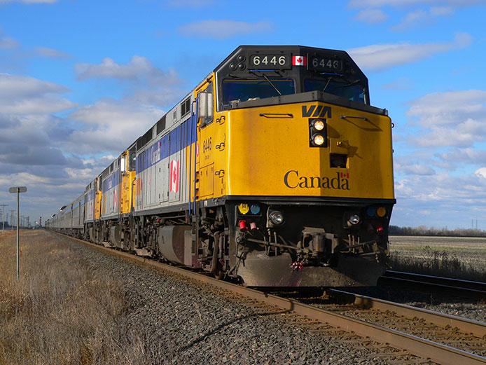 Three VIA locomotives lead The Canadian