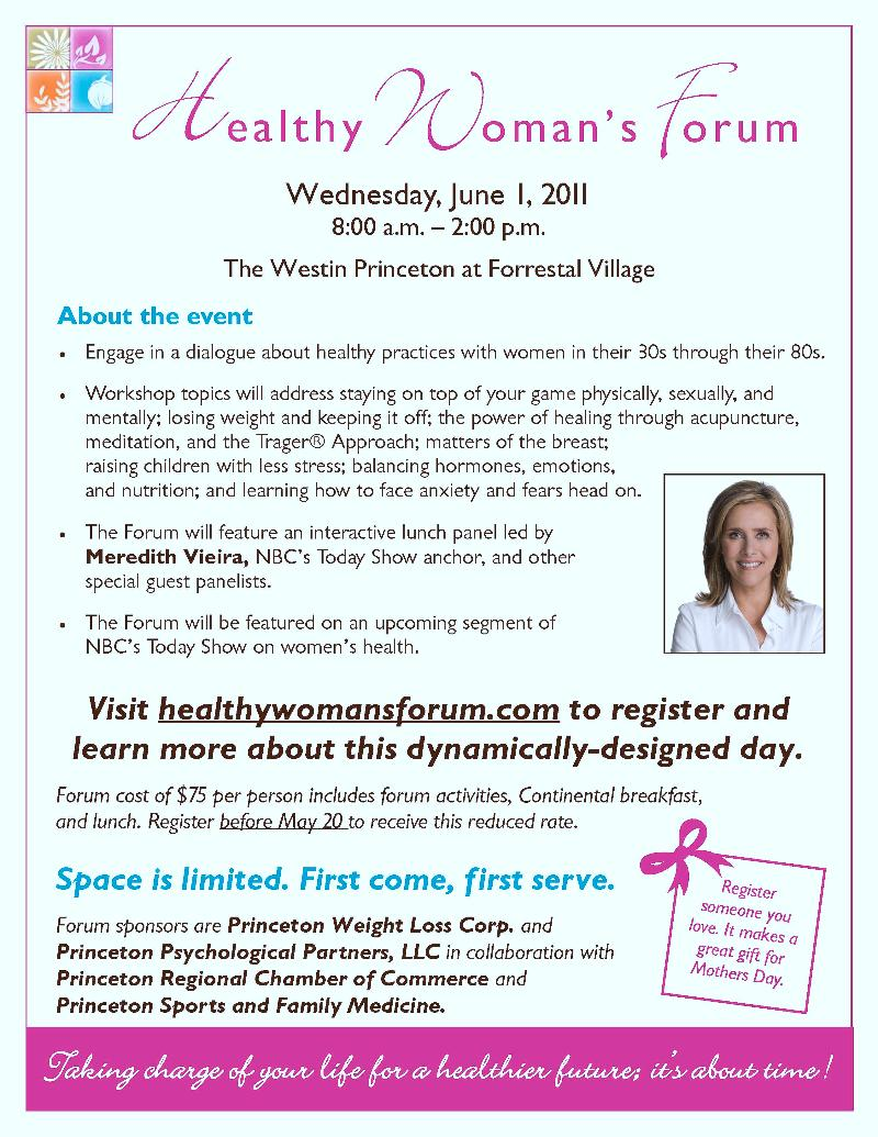 Healthy Woman's Forum flyer 2011