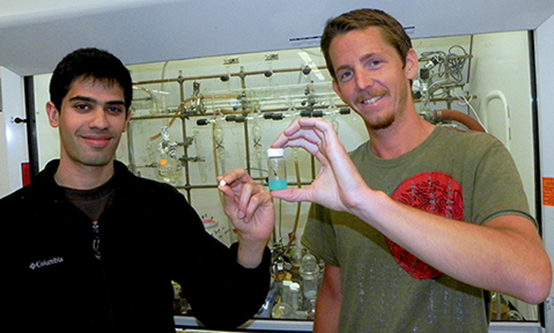 Nisarg Shah and Stephen Morton holds samples of their work in the lab.