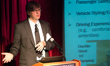 GM Technical Fellow Louis G. Hector Jr. speaks about the Integrated Computational Materials Engineering (ICME) of Generation Three Advanced High Strength Steels project during Materials Day, Oct. 21, 2014. Hector is a principal investigator on the project.