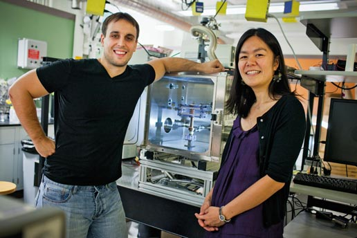 Nenad Miljkovic (left) and Evelyn Wang of Mechanical Engineering