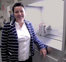 MIT Assoc. Prof. Silvija Gradečak with CVD system for nanowires.