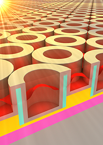 This rendering shows the metallic dielectric photonic crystal that stores solar energy as heat. Image, Jeffrey Chou