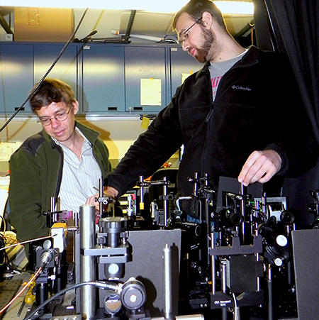 Alexei Maznev and Jeff Eliason in Terahertz spectroscopy lab at MIT.