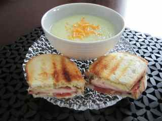 Cauliflower soup and sandwich compressed