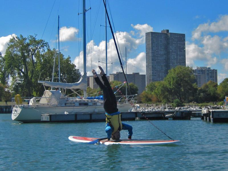 Michelle Blakely SUP Yoga headstand
