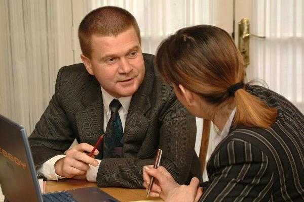 business advisor and client